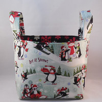Penguin Themed Christmas Fabric Basket With Handles