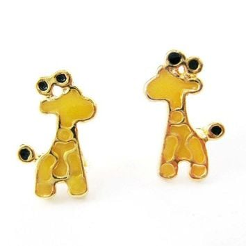 Small Giraffe Animal Stud Earrings in Yellow