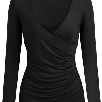 B| Chicloth Sexy Deep V Neck Cross Front Ruched Long Sleeve Women's T-Shirt