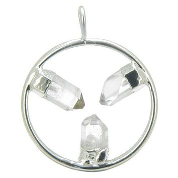Brazilian Lucky Circle with Triple Rough Rock Quartz Crystal Point Gemstones Pendant