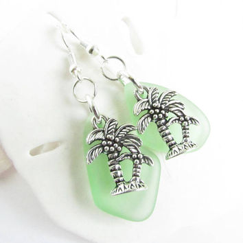 Palm Tree Earrings, Sea Glass Earrings, Dainty Earrings, Dangle Earrings, Beach Earrings, Gift for Her, Gift for Mom, Girlfriend Gift, EA05