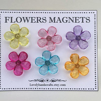 Color Transparent Acrylic Flowers  Magnets - Teacher Appreciation Gift- Gifts for Friends/Family/Co-workers- Gift Idea for Teacher- Set of 6