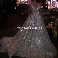 New Unique Fabric Sexy V-neck Bling Dress Evening Party Long Prom Evening Dresses Simple Beads Vestidos De Festa