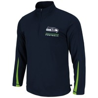 Seattle Seahawks Read and React Quarter-Zip Jacket - Navy Blue