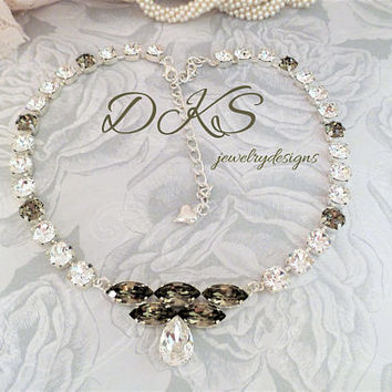 Swarovski Bridal Necklace, Crystal, Greige, Navettes, Pear, 8MM, DKSJewelrydesigns, FREE SHIPPING