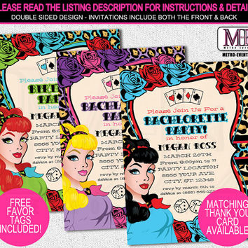 Pin-up Girl Invitations, Bachelorette Party Invitations, Rock-A-Billy Invitations