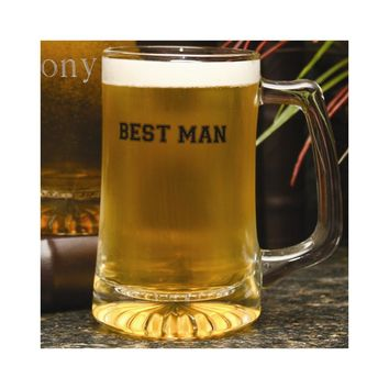 Glass Best Man Mug - Etching Personalized Perfect Wedding Gift