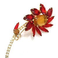 Juliana D& E Flower Brooch, Red Amber Topaz and Clear Rhinestones, Juliana Figural, Wired Accent Stones, Gold Tone Metal, 1960s