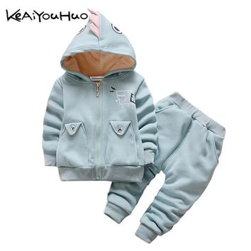 KEAIYOUHUO Winter Kids Clothing Clothes Set Boys Girls Cute Dinosaur Warm Coat+Pants 2pcs Outfit Sport Suit Toddler Children