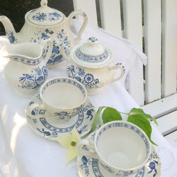 Set of 9 Pieces - Antique J&G Meakin Blue Nordic Blue Onion Pattern/Johnson Brothers Ironstone/Made in England Tea Set - Circa 1960's