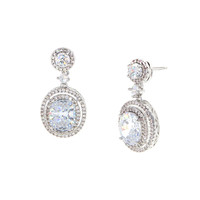 Dear Deer White Gold Plated Classic Teardrop CZ Dangle Earrings