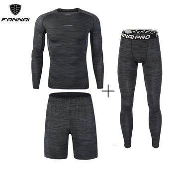 New 3Pcs Running Set Men's Quick Dry Men Compression Sport Suit Fitness Tight Gym Clothing Jogging Suit Workout Men's Sportswear