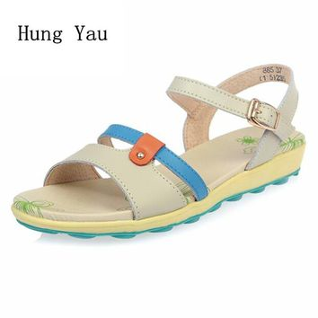 Women Sandals 2017 Summer Genuine Leather Shoes Woman Flip Flops Wedges Fashion Platform Female Slides Ladies Shoes Buckle