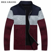HEE GRAND Men Fashion Style Thick Sweater Stand Collar Spliced Color Thin Wool Warm Late Autumn Cardigan Plus Size M-3XL MZL671