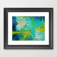 SEASIDE DREAMS - Beautiful Ocean Waves Teal Blue Turquoise Chartreuse Underwater Abstract Painting Framed Art Print by EbiEmporium | Society6
