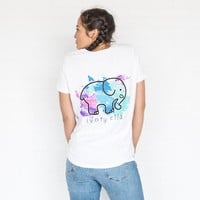 Perfect Fit White Watercolor Splash Tee