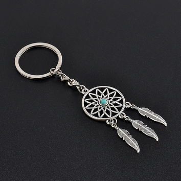 Fashion Vintage Silver Dream Catcher Charms Turquoise Beads KeyChain For Car Key Ring Jewelry