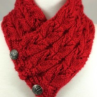 Neckwarmer Harvest Red Owl Steampunk Vintage Button Caron Simply Soft