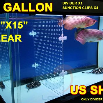 "Aquarium Clear Acrylic Divider 0.24"" Holes 0.12"" Thick 4pcs Suction Clips For 40 Gallon Tank Betta Fish Guppies US Ship"