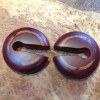Ear weights in blood wood with marble wood inlays