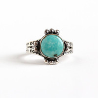 Vintage Sterling Silver Turquoise Blue Stone Ring - Size 5 Retro Southwestern Statement Native American Style Jewelry
