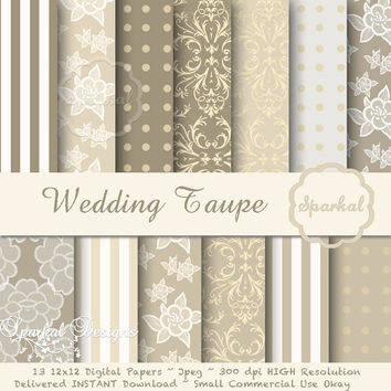 "Taupe WEDDING LACE Paper ""Digital Paper"", 12X12 Printable Scrapbooking paper, Gorgeous Depth and High Resolution Always Instant Download"