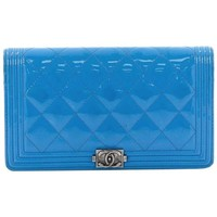 Chanel Quilted Patent Boy Yen Wallet