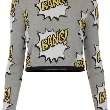 Knitted BANG Motif Crop Jumper - Topshop