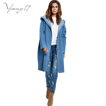 Young17 women basic coats Spring Down Pockets Loose Maxi Coat jeans jacket women casual Single Breasted Hooded Long denim jacket