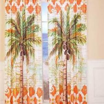 (1) Tropical Palm Tree Themed Curtain Panel Moroccan Pattern Bedroom Decor