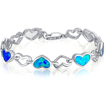 Sterling Silver Heart W. Blue and Green Fire Opal Bracelet
