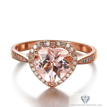 Heart Shaped Morganite Diamond Pave Halo Rose Gold Engagement Cocktail Ring