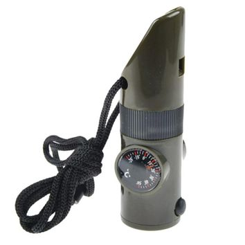 MUQGEW 2017 7in1 Emergency Whistles With Compass Thermometer Magnifier LED Flashlight survival tools