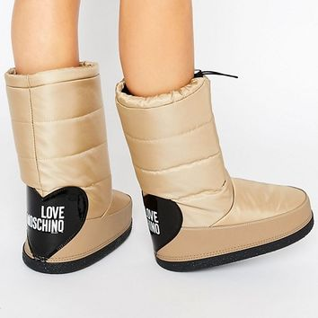 Love Moschino Beige Snow Boots at asos.com