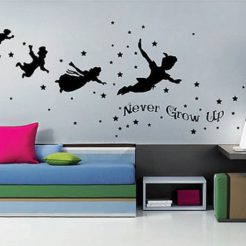 kik2801 Wall Decal Sticker Peter Pan fairy tale of Big Ben room children's bedroom