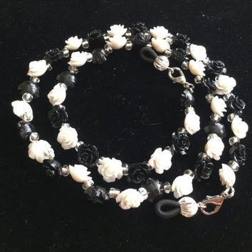 Handmade Black and White Flower Eyeglass Chain Holder