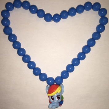 My Little Pony  - Rainbow Dash - Bubblegum Beaded Necklace - re-purposed toy
