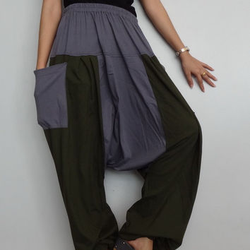 Green & Gray Drop crotch long trouser,Unisex harem Baggy pants, unique cotton blend (Drop pants-26).