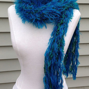 Blue long hand knit scarf, spa blue knitted, rich turquoise and green with bright blue fun fur yarn, long blue fuzzy soft scarf
