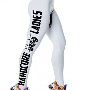 White Side Letters Skull Printed Leggings Casual Yoga Pants Plus Size