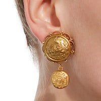 Lion-Embossed Gold-Plated Drop Earrings | Moda Operandi