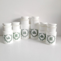 Set of 6  vintage Apothecary Pots in Opale Glass (milkglass made in Italy)