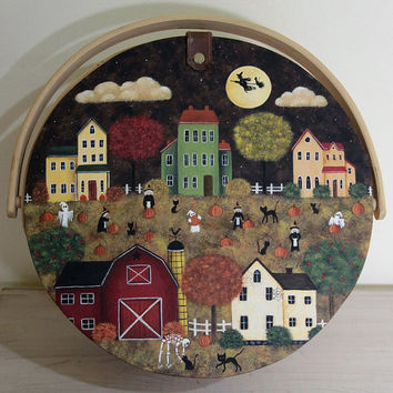 Halloween Folk Art Painting on Wood Basket - READY TO SHIP - Saltbox Houses, Witches, Pumpkins, Ghosts, Black Cats, Spooky Country Scene