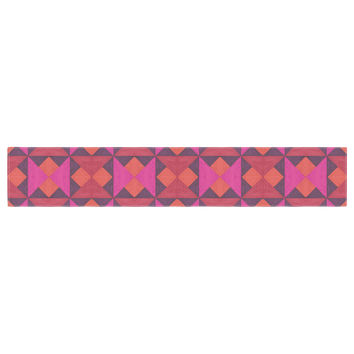 "Empire Ruhl ""A Quilt Pattern"" Pink Red Table Runner"