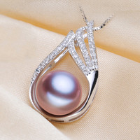 Elegant 925 Sterling Silver Neckalce Pendant Real Pearl with box chain