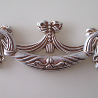 "2.5"" Shabby Chic Dresser Drawer Pulls Handles Knobs Antique Silver Vintage Style"