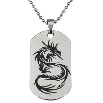 Dragon Stainless Steel Dog Tag Ball Chain Necklace