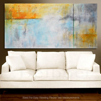 "Original 72"" large painting abstract art 6ft huge white blue gray Modern Painting by L.Beiboer FREE SHIPPING"