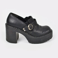 vintage 90s black faux leather MONK STRAP boots / monk buckle strap boots / chunky heel boots / chunky boots / ankle boots / 90s grunge / 6