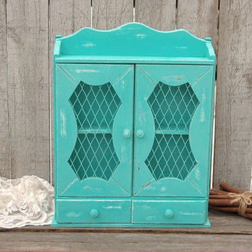 Spice Rack, Bathroom Wall Cabinet, Shabby Chic, Tiffany Blue, Aqua, Turquoise, Hand Painted, Distressed, Upcycled, Beach Decor